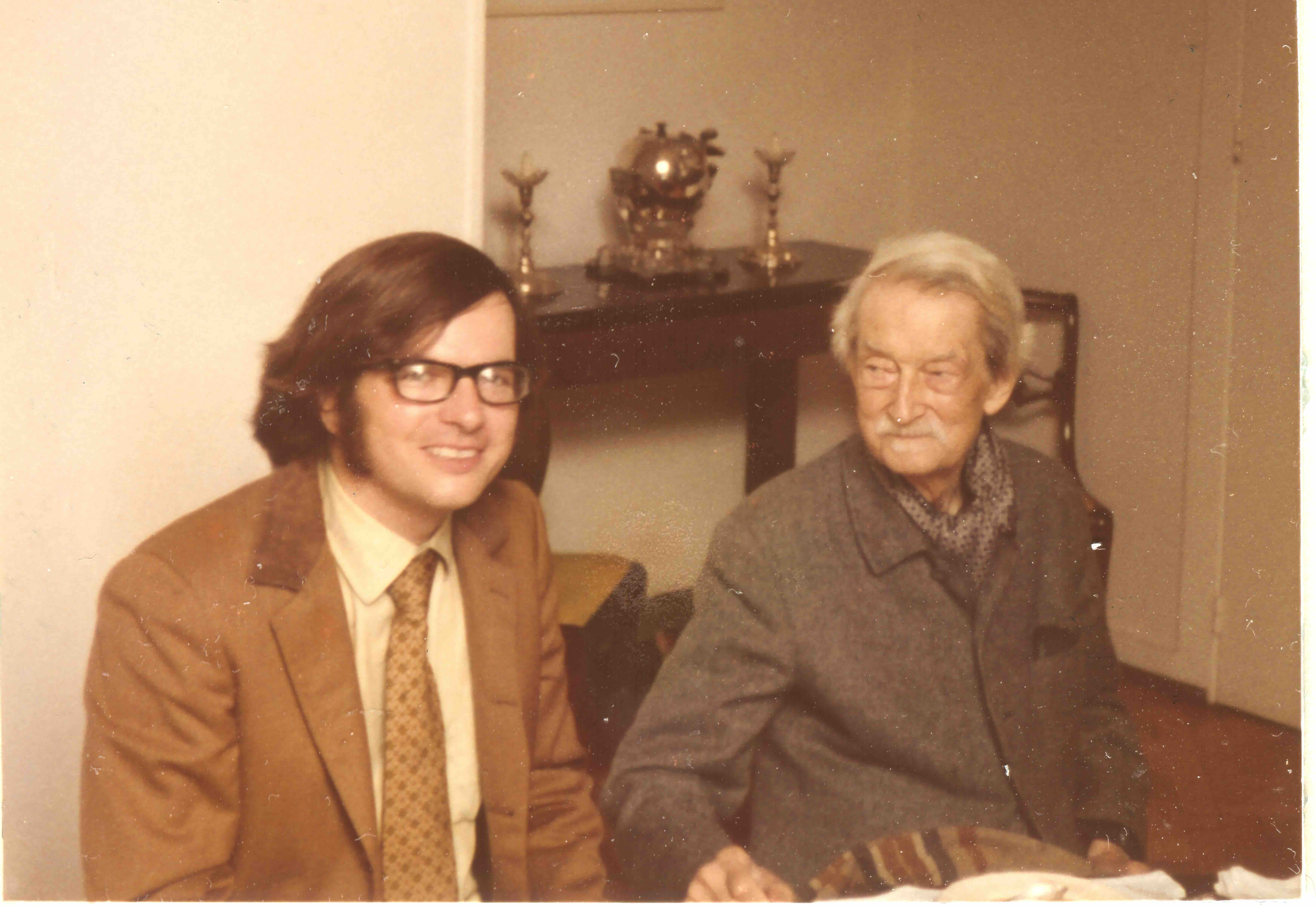 The history behind the John Deely and Jacques Maritain Chair in Philosophy at Saint Vincent College includes a young John Deely (left) meeting with Jacques Maritain in Kolbsheim, France, on July 20, 1972. (Photo courtesy of Brooke Deely)