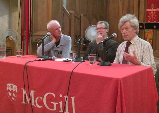 "Charles Taylor (left), moderator Douglas Farrow, and Roger Scruton discuss philosophy at McGill University April 13 as part of the conference called ""Thinking the Sacred with Roger Scruton"". (Photo: C.S. Morrissey / The B.C. Catholic)"